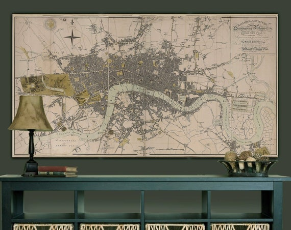 London England Map Print Large Vintage Historic Old 1807 Antique london Wall Map Fine Art Print Vintage Map decor gift