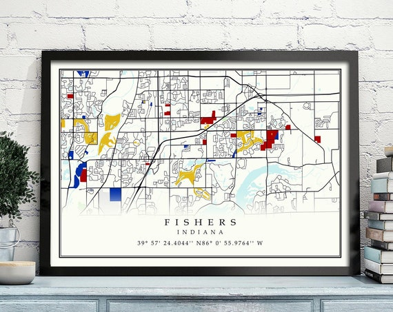 Fishers Indiana CANVAS Map Fishers Indiana Contemporary map Poster Fishers Gift Art Print Fishers poster map Poster Fishers map