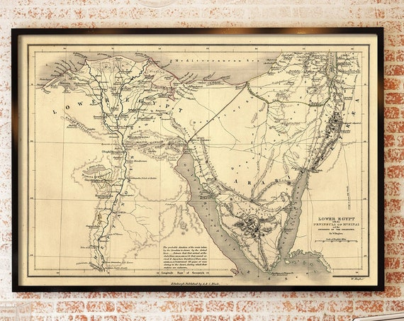 Biblical Map Journey of the Israelites Lower Egypt map Peninsula of Mount Sinai Antique Style Wall Map Vintage Map Judea Christian Gift Idea