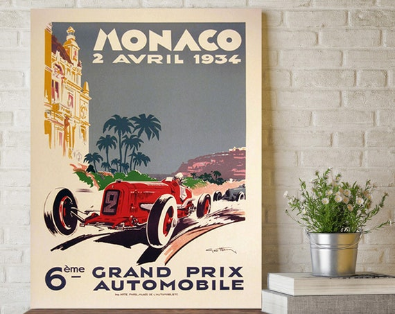 1934 Monaco Grand Prix Poster, Race Fan Gift, Fine Art Print, Formula 1 racing poster print, Wall Decor