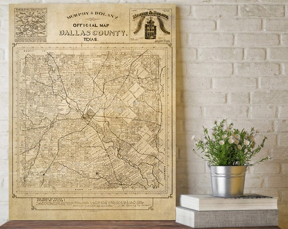 Dallas County Map poster print Texas wall art | Texas gift | Old map Texas decor for home office 1886 Texas decorating Idea