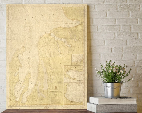 Grand Traverse Bay to Little Traverse Bay - 1957 Lake Michigan - Michigan - Nautical Map Reprint - Harbors Great Lakes gift Largest SIZES