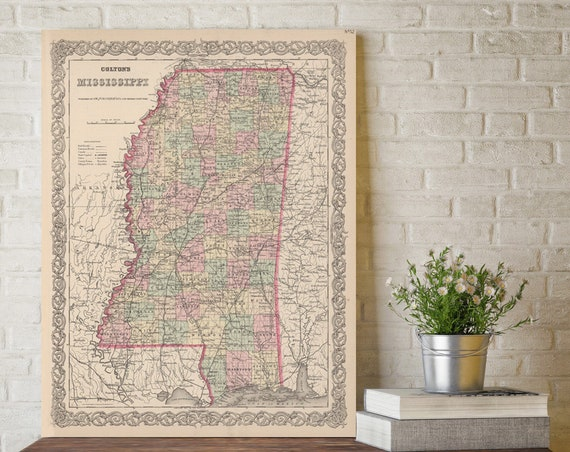 Mississippi map - Vintage map of Mississippi Fine Art Print gift