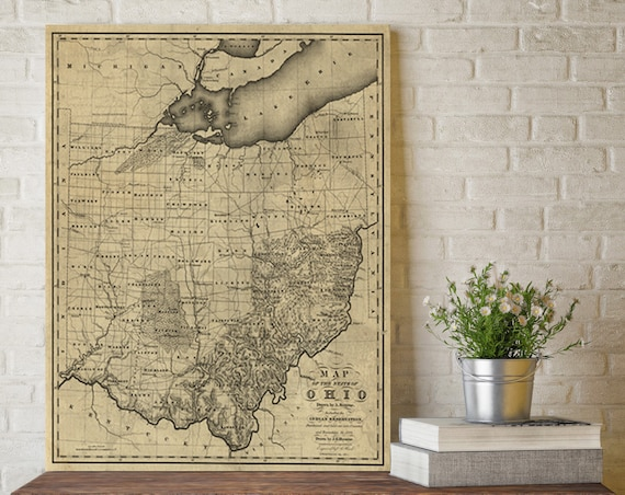 Old map of Ohio - Fine reproduction Ohio map - Vintage Style Ohio Wall map