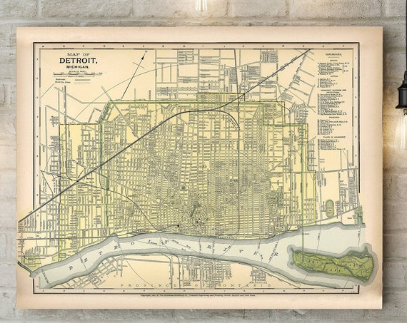 Vintage Detroit Map Map of Detroit Vintage Map of Detroit Michigan Map Detroit Michigan Antique Detroit Map Detroit Street Map Detroit City