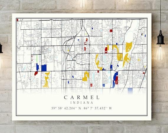 Carmel Indiana CANVAS Map Carmel Indiana Contemporary map Poster Carmel Gift Art Print Carmel Home Gift map Ideas