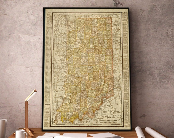 Old Indiana Map Art Print 1901 Map Of Indiana, Indiana Wall Map, Map Decor