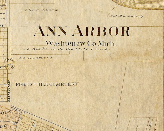 Old Ann Arbor Map  Michigan Wall Map - Vintage 1895 Map of Ann Arbor   city of Ann Arbor College Graduation gift Housewarming gift map art