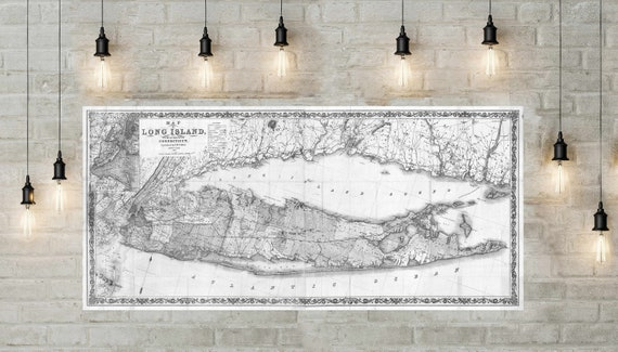 Print of Vintage Long Island Map, Antique Nautical Line Chart Blueprint of New York, long island wall art, gift map of long island