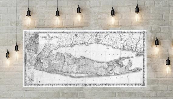 Print of Vintage Long Island Map, Antique Nautical Line Chart Blueprint of New York, long island wall art, gift map of long island