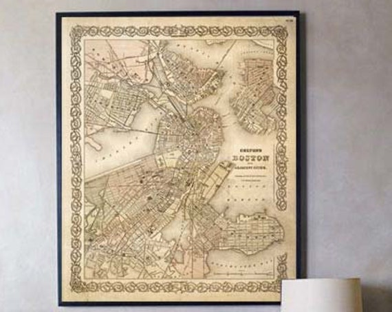 Map of Boston 1886 Boston Map Vintage Boston Map Boston Poster Old Style Boston maps Wall Map decor new home housewarming gift map art