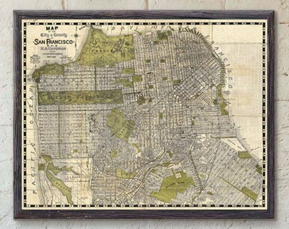 Vintage San Francisco Map Print - San Francisco City Map Art - San Francisco Art San Francisco Poster, California Map of San Francisco Decor