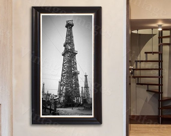 Old Field Drilling Rig Photo Print oil well  derrick oil gusher field  photo wall Photo steampunk Old Photograph Home decor poster
