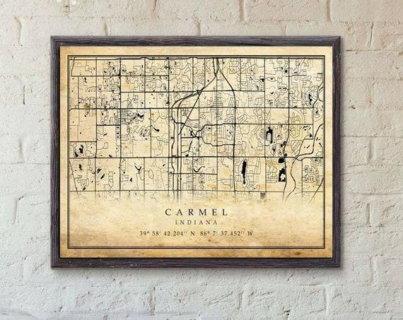 Carmel Indiana CANVAS Map Old antique style Home Decor Carmel Art Print Carmel Home Gift map Ideas