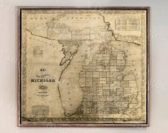 Vintage Michigan map 1856 old map of Michigan Old Antique Style Michigan State Gift wall Map Lake Michigan Decor Housewarming gift