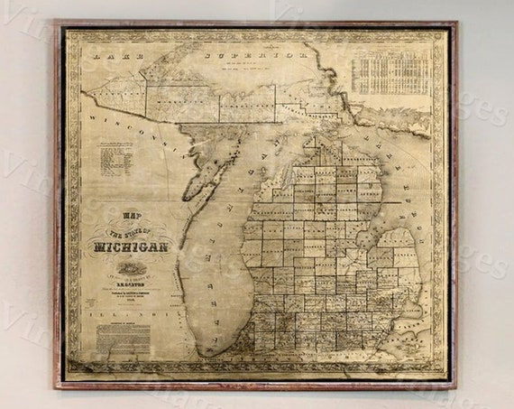 Vintage Michigan map 1856 old map of Michigan Old Antique Style Michigan State Gift wall Map Lake Michigan Decor Housewarming gift