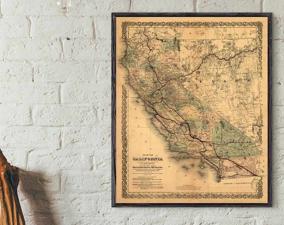 California Map, 1876 old map of California, California Map Print, California Decor, Historical Map, Historical Print, California gift