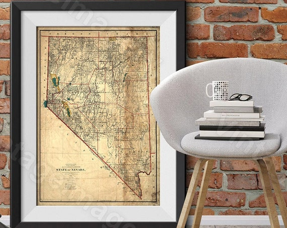 Giant Nevada Vintage Map Poster - Vintage Map Print Nevada Home Decor wall Map Nevada Gift Idea - Nevada Print Wall Art