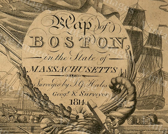 Boston Map Art Print Historic Boston City Map Antique Map of Boston Restoration Style Giant Boston wall Map house warming gift idea