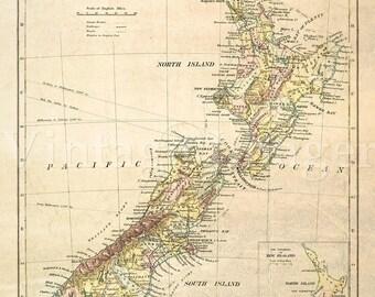 New Zealand Provinces Map.New Zealand Map Etsy