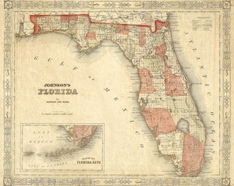 Florida map | Etsy