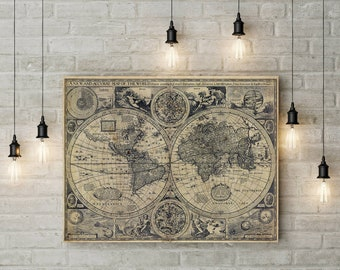 Old world map etsy historic old world map vintage map 1626 old antique restoration style map fine art print world map wall art home decor housewarming gift gumiabroncs Images