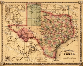 Texas Map Art Etsy