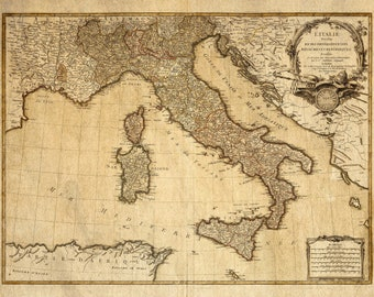 picture regarding Free Printable Vintage Maps called Italy map Etsy