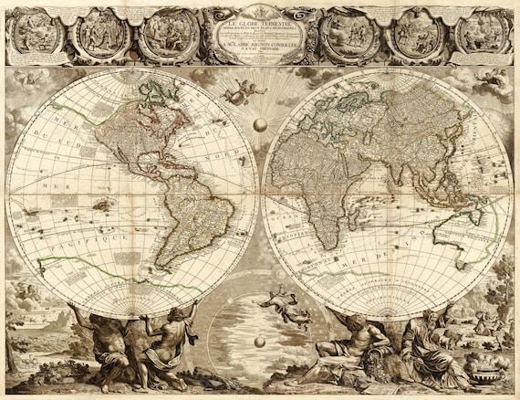 Old World Map Baptiste 1708 Historic world Map Antique Restoration Style World Map Jean Baptiste Nolin Le Globe Terrestre Wall Map Decor