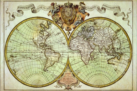 Old world map Restoration Style Giant Historic 1720 World Map Old Antique Fine Art Print Wall Decor
