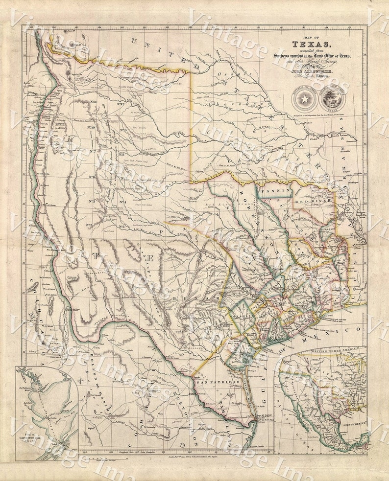 Map Of Texas Vintage 1843 Texas State Map Historical Antique Etsy
