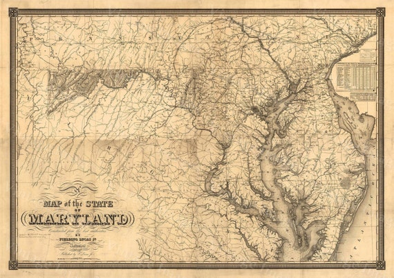 Map of Maryland Old Maryland Map, Maryland Vintage Map, 1841 Restoration decorator Style Maryland Wall art Maryland Map Chesapeake Bay map