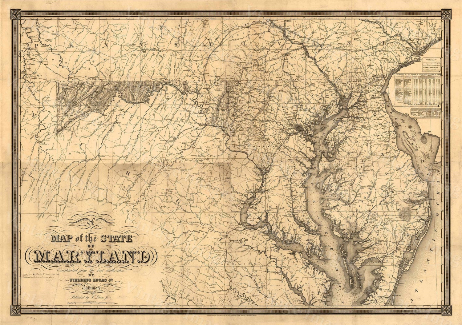 Map of Maryland Old Maryland Map, Maryland Vintage Map, 1841 ...