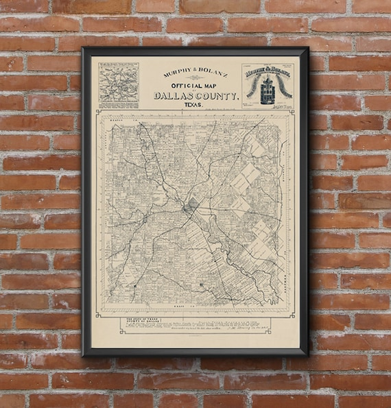 Dallas map poster print wall art | Texas gift | Old map decor for home office 1886 Dallas County Map
