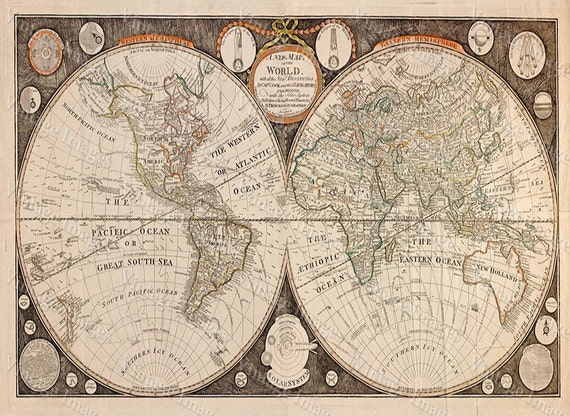 "World map Print 1799 Historical map of the World up to 43x77"" 109x196 cm wall map Restoration decorator Style Old World Map decor"