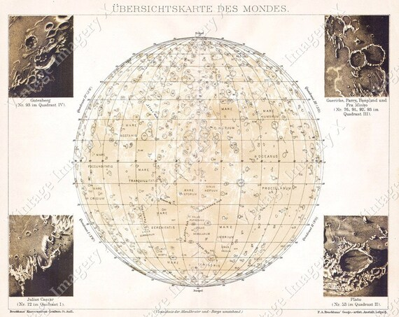 Antique map of the MOON  Vintage Historic 1898 Brockhaus Old Map Of The Moon Old Antique Lunar Map Chart Restoration Hardware Style Moon Map