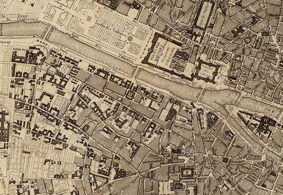 Paris map Old Map Vintage Paris City Plan Map of Paris 1860 French style Paris map Paris Street map Large Old Paris map Print Map Decor
