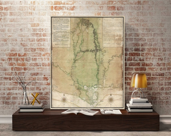 Mississippi Map Print, 1743 Map of MS, Vintage Map of Mississippi, Old Map of the Mississippi Delta, Wall Map decor, housewarming gift
