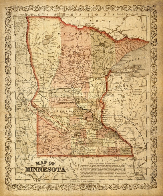 Map of Minnesota 1860 Map of MN Vintage Maps Restoration Style Map Antique Minnesota map Wall Map decor new home housewarming gift map art