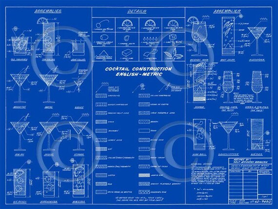 Martini cocktail Mixed Drinks construction Blueprint recipe layout Man cave bar art drafting type fine art wall decor