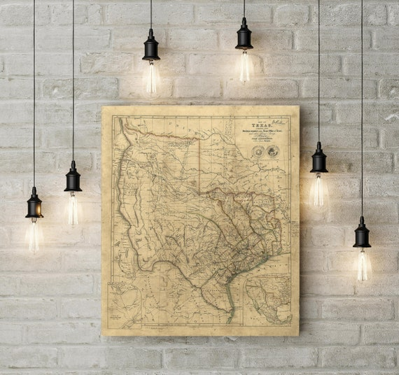 Vintage Texas Map 1841 Old Texas Historical map Antique  Vintage Map Map of Texas state Map Lone Star State Map Fine Art Housewarming Gift