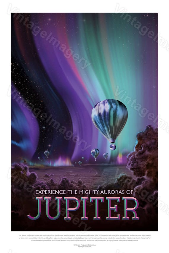 Jupiter Space Print 2016 NASA/JPL Space Travel Poster Space Art Great Gift idea Kids Room Office man cave Solar System Wall Art Home Decor