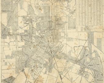 "HOUSTON Map, TEXAS Old Map of Houston, Houston TX, Houston city Map, Vintage Map, Old Texas City map, Map of Texas six sizes up to 43"" x 49"""