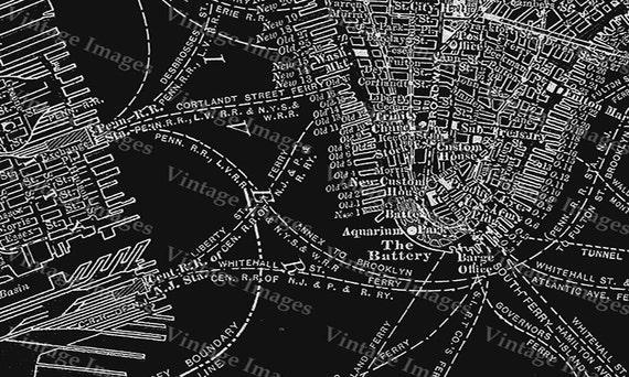New York City Manhattan Street Map 1910 Historic black And White Street Map Architectural blueprint Style wall  Map Fine art Print Poster