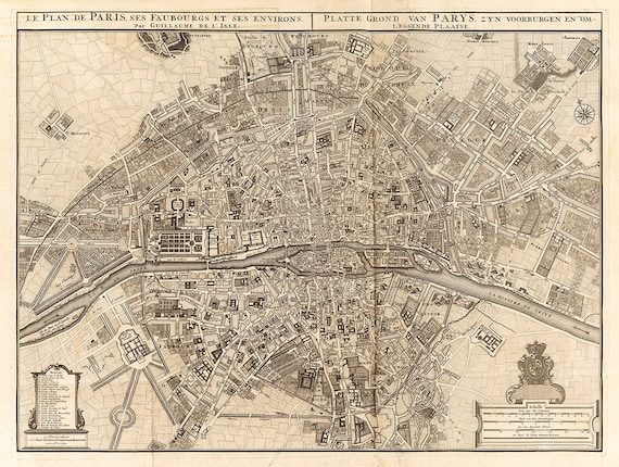 Vintage Map of Paris 1742 Old Map of Paris France Restoration decor style Map Plan de Paris Fine art Print One Of A Kind Wall Map Home Decor