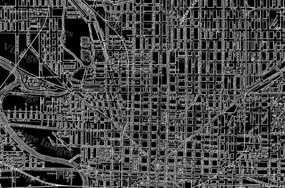 Giant Black & White 1899 Vintage Historic Indianapolis Indiana Bicycle and Driving Map Blueprint Style wall Map DECOR