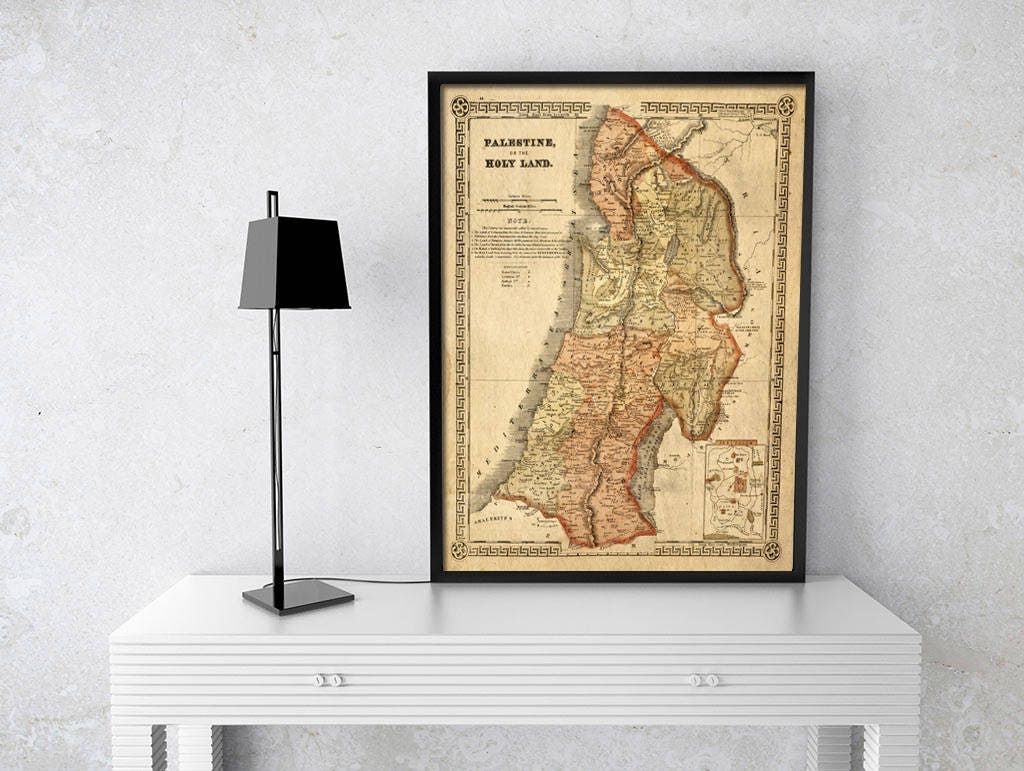 Holy Land map 1865 Map of Palestine Biblical Regions Antique