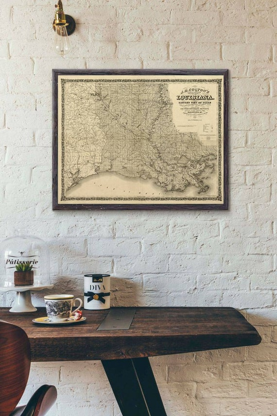 Louisiana map Print 1863,Large, old map of Louisiana, Louisiana map art, Louisiana poster, Louisiana gift idea, map sizes up to 5ft x 6ft