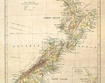 Antique New Zealand map 1881 Old map of New Zealand. Vintage New Zealand wall map home decor fine art print Historical Map map reproduction