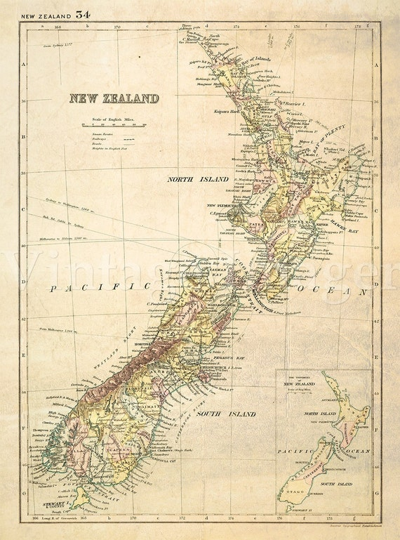 antique new zealand map 1881 old map of new zealand vintage etsy
